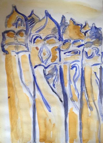 estudio Gaudi/ BCN/ 2003 Papel Acuarela Paisaje