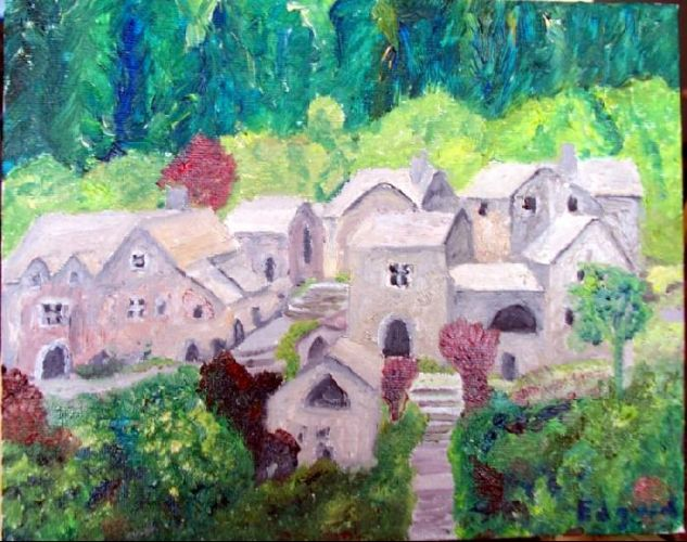 Village Oil Canvas Landscaping