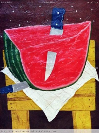 Watermelon with knife, Lienzo Óleo Paisaje