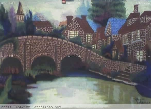 el puente de los deseos Pastel Lienzo Paisaje