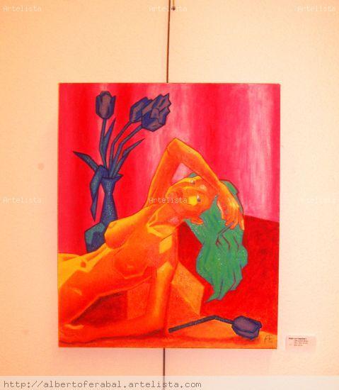 Mujer con tulipanes I Óleo Lienzo Desnudos