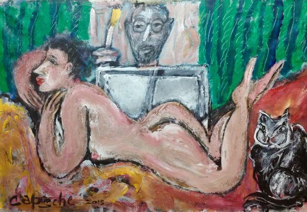 El pintor, la modelo y la mascota Tela Acrílico Desnudos