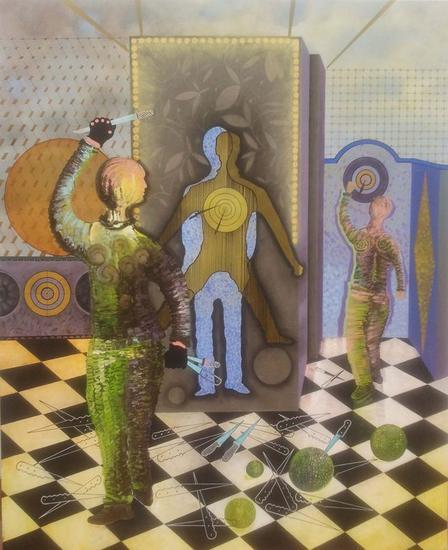 Lanzador de cuchillos Panel Acrylic Figure Painting