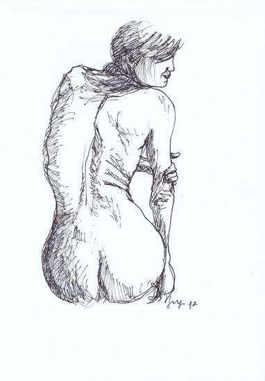 Mujer de espaldas denuda Tinta