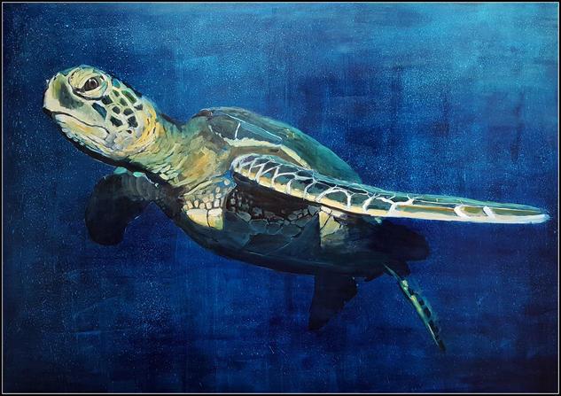 Tortuga marina Canvas Mixed media Animals