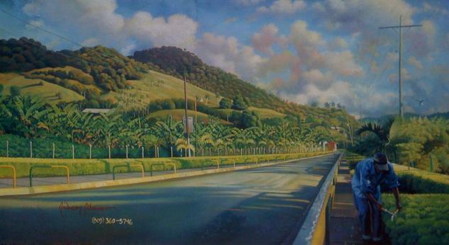 pintura mural: paisaje de san victor, moca. Otros Acrílico Paisaje