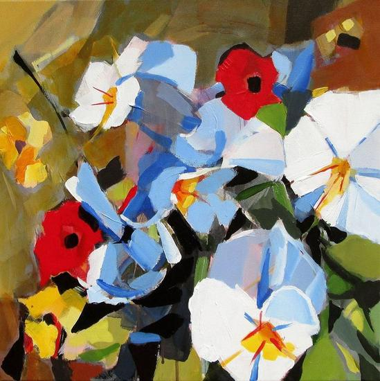Flores candidatas Floral Painting Acrylic Canvas
