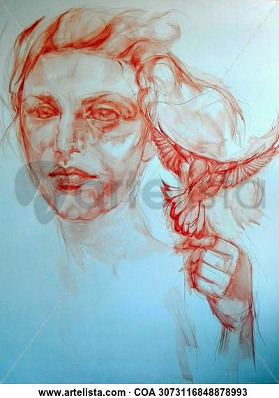 Mujer con pájaro. Sanguina