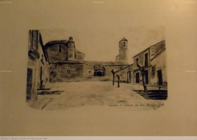 Iglesia de Santa Maria. Linares. 1982 Lápiz (Negro) Papel Paisaje