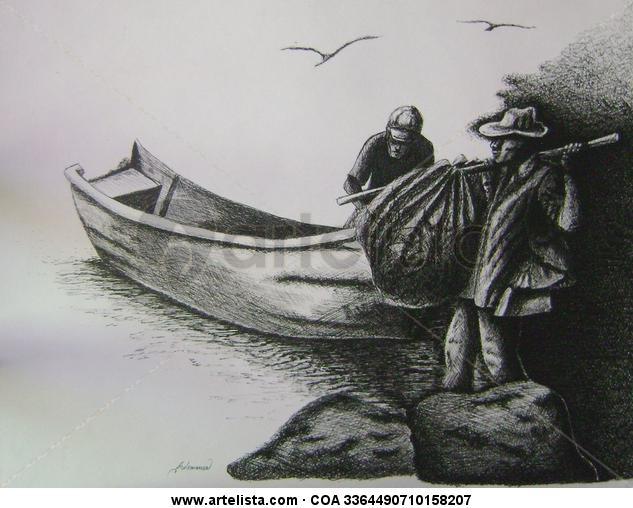 Pescadores Cartulina Tinta Paisaje