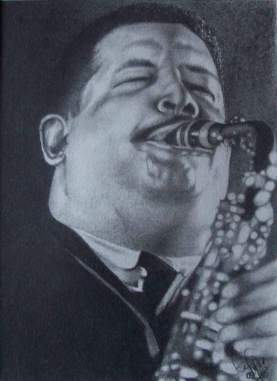 Jazz-Cannonball Adderly Grafito Papel Retrato