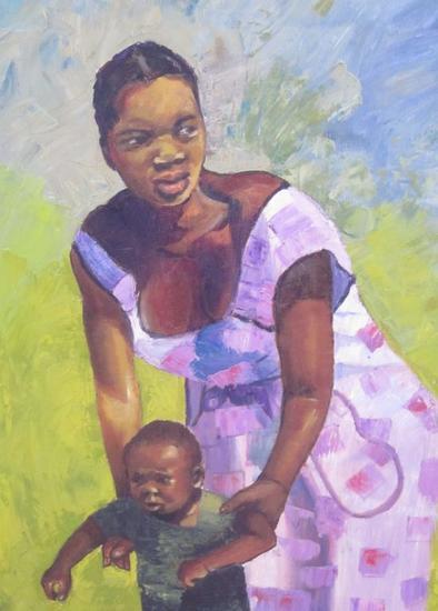 MADRE E HIJO Oil Canvas Portrait