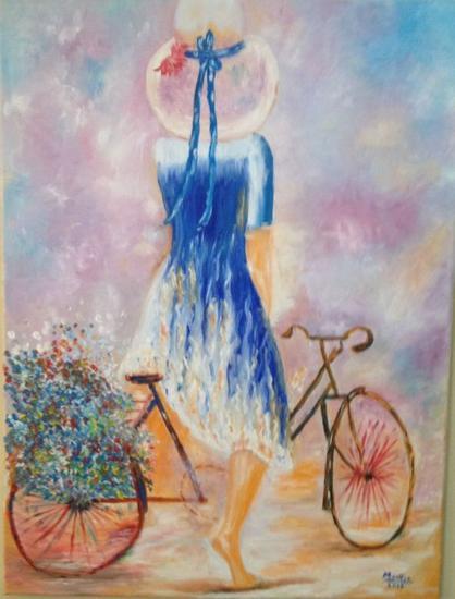 Mujer en bicicleta Lienzo Óleo Figura