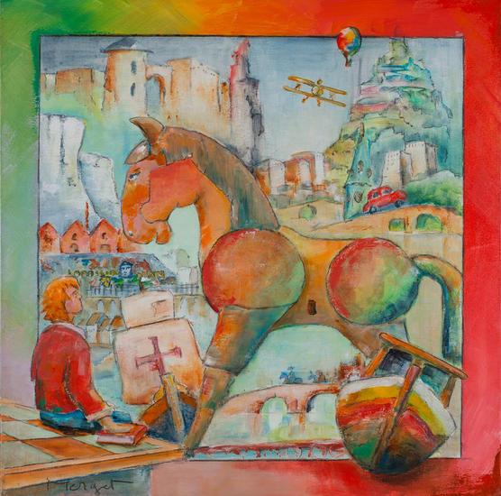 Le cheval de Troie 3. Lienzo Acrílico Animales