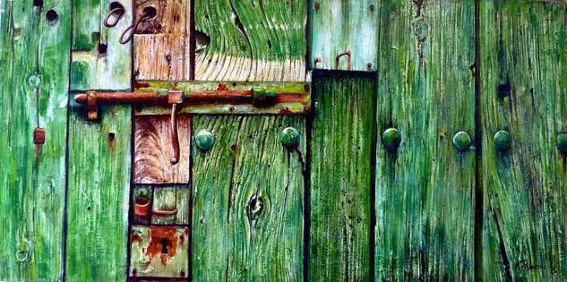 La puerta verde Otros Óleo Tabla
