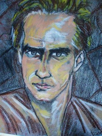 rostro masculino Pastel Papel Retrato