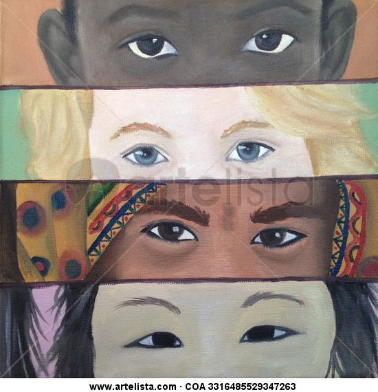 Miradas infantiles del mundo Lienzo Óleo Retrato