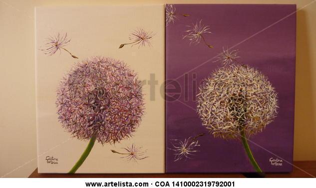 Pom-pom1 y pom-pom2 Lienzo Acrílico Floral