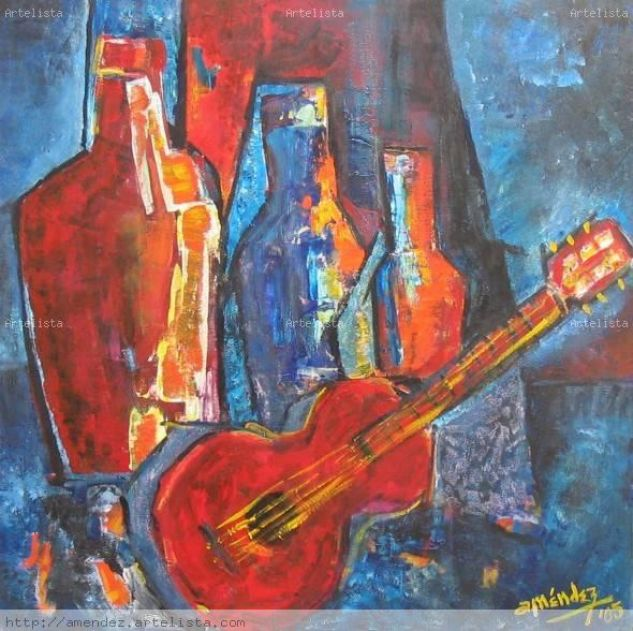 La guitarra de Alfredo Bodegones Acrílico Lienzo