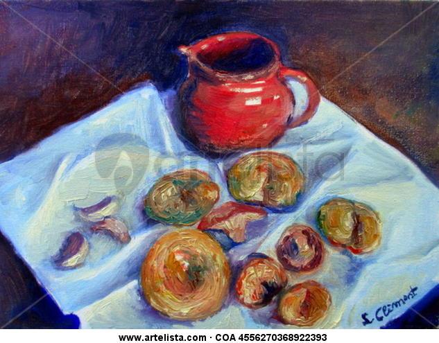 Chanterelles. Still Life Paintings Oil Canvas