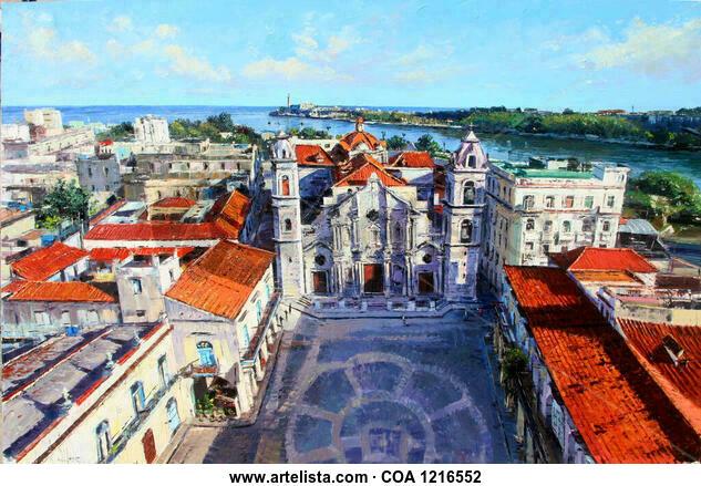 """""""Catedral de la habana vista de pájaro"""" Landscaping Oil Canvas"""