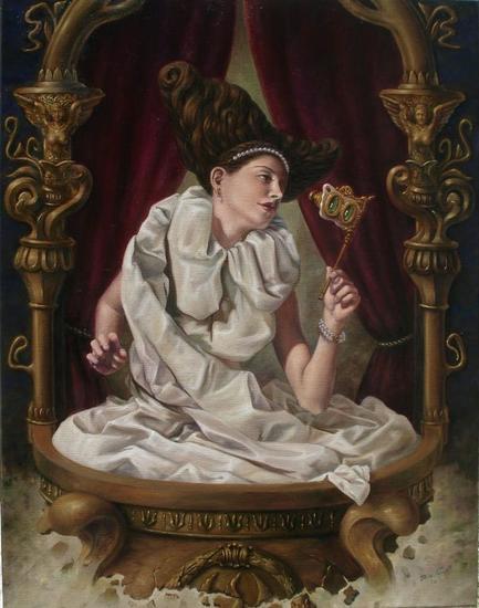 Dama sobre palco desvaneciente