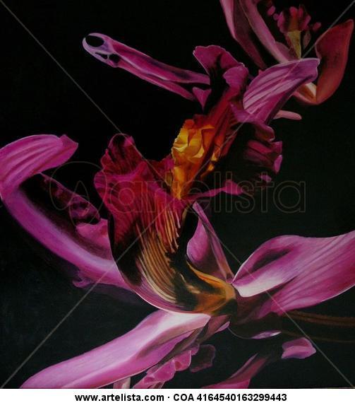 orquidea rosa Lienzo Óleo Floral