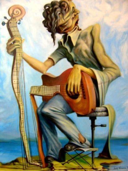 Guitarra y guitarrista Óleo Lienzo Otros