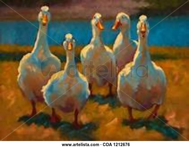 Gooses Animales Óleo Lienzo
