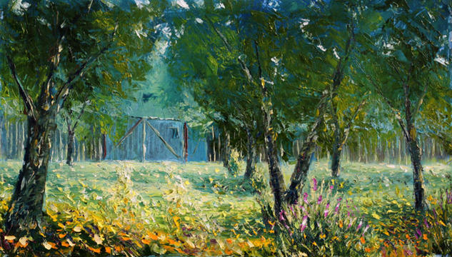 Summer palette knife oil painting My3 Artist Valery Rybakow Paisaje Óleo Lienzo