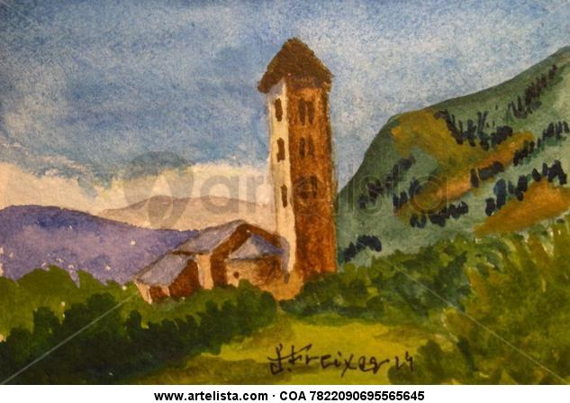 Paisajes de Andorra Cartulina Acuarela Paisaje