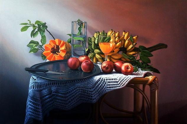 Bodegon con manzanas Still Life Paintings Oil Canvas