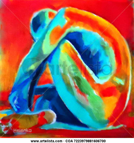 Folded in thoughts Canvas Acrylic Nude Paintings