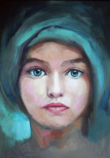 OJOS VERDES Figure Painting Oil Canvas