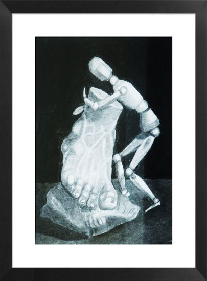 Taker con pie Graphite Card Still Life Paintings