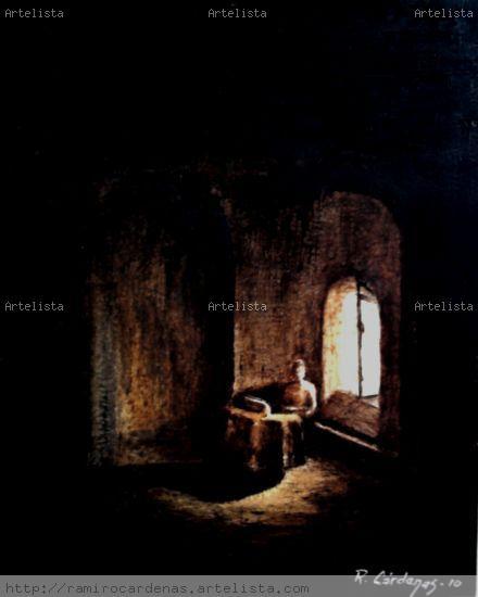 Pintor en su estudio (Fondo copiado del Filòsofo de Rembrandt) Papel Otros Figura
