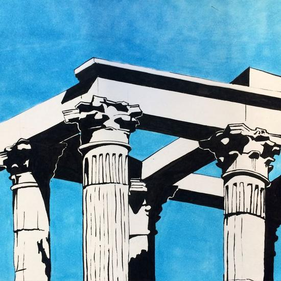 Templo de Diana Papel Tinta Paisaje