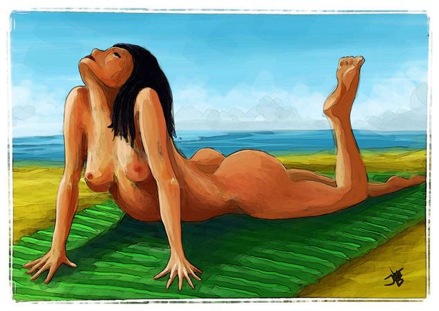 Mujer tumbada al sol