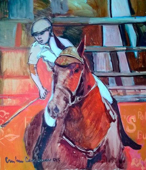 caballo de salto Lienzo Acrílico Animales