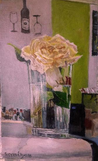 Vaso con rosa Bodegones Óleo Lienzo