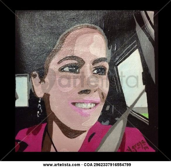 Selfie de Yeney Graza Retrato Acrílico Lienzo