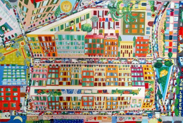I colori di San Lorenzo a Roma Paisaje Lienzo Óleo