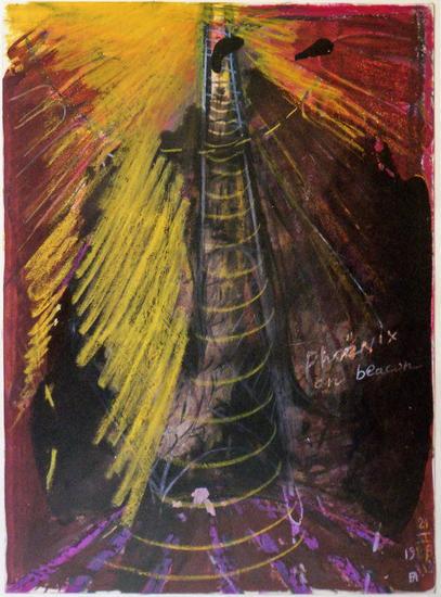 #193 Phoenix on beacon   21.III.1988 Mixed Media