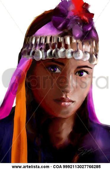 Mapuche Girl  Retrato Papel Otros