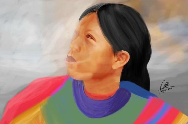 Indigena Tela Acrílico Retrato