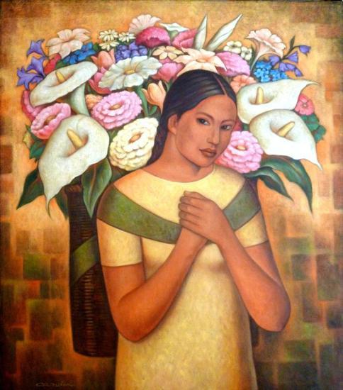 La mujer de las flores Lienzo Óleo Figura