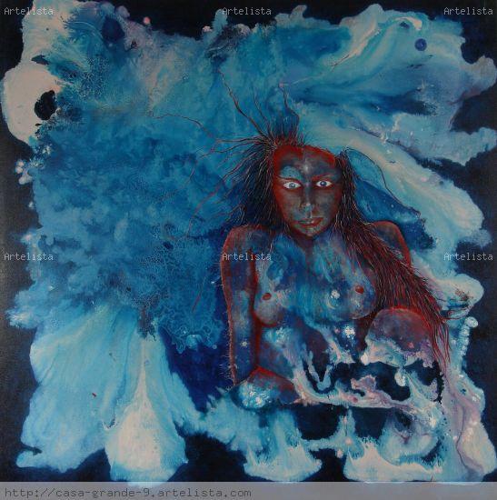 azul roja Lienzo Acrílico Desnudos