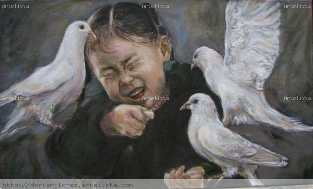 Niña con palomas