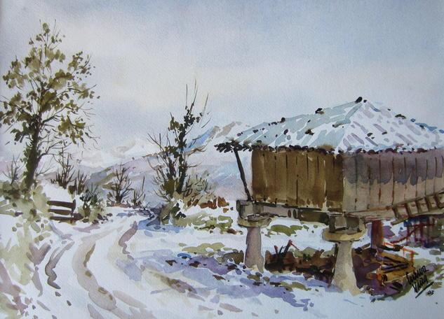 Nieve en Asturias Papel Acuarela Paisaje