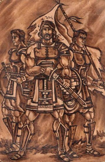 Moroni, Lehi, Teancum Huecograbado